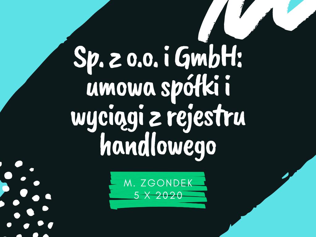 Course Image Sp. z o.o. i GmbH: umowa spółki i wyciągi z rejestru handlowego (j. niemiecki)